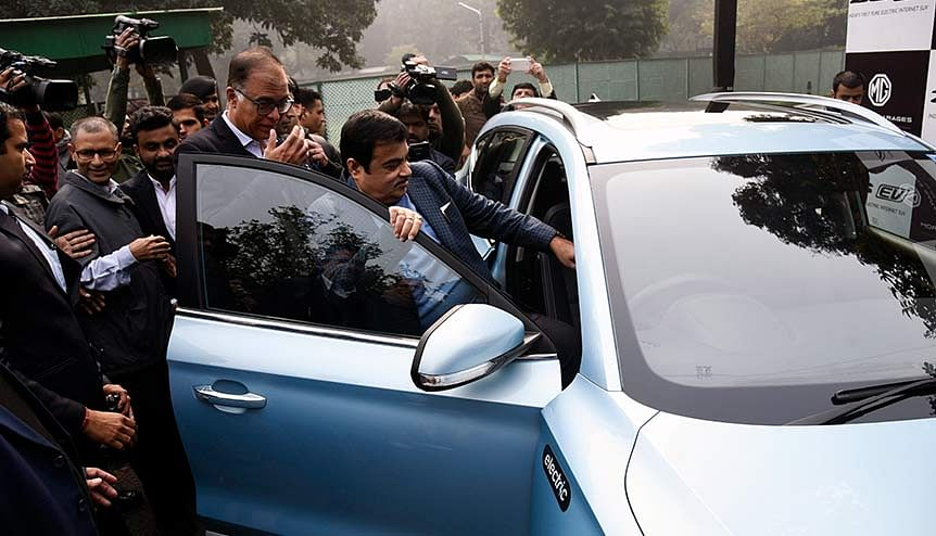 Union Minister for Road Transport & Highways, Nitin Gadkari launching India's First Pure Electric Internet SUV ZS EV of MG Motor India. The Indian government is creating an ecosystem that will help upscale electric mobility, help the broader national agenda, and reduce pollution and the oil import bill.