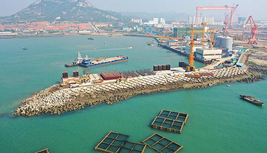 Aerial view of Qingdao Port undergoing expansion in Qingdao city, east China's Shandong province. China accounted for 22 per cent of all global exports.