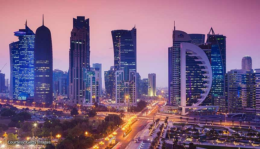 A view of Doha, Qatar's capital city. According to data there are over 6000 big and small Indian companies operating in Qatar at present, with an investment of about US$450 million in the country. Qatar holds strategic importance for India in terms of the latter's energy security.