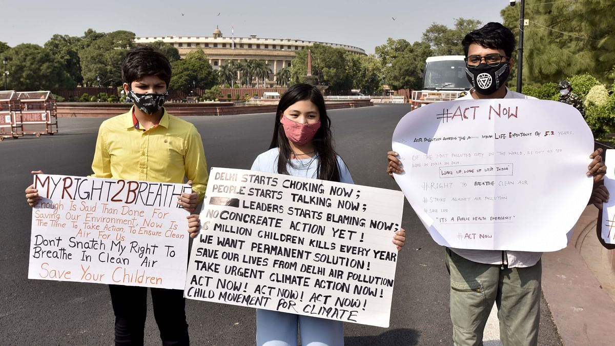 Licypriya Kangujam (C), a 9-year-old climate activist, stages a protest against air pollution in New Delhi. The UK university and its Indian partners also plan to support the development of education programmes that will help produce future transport leaders and world-leading research.