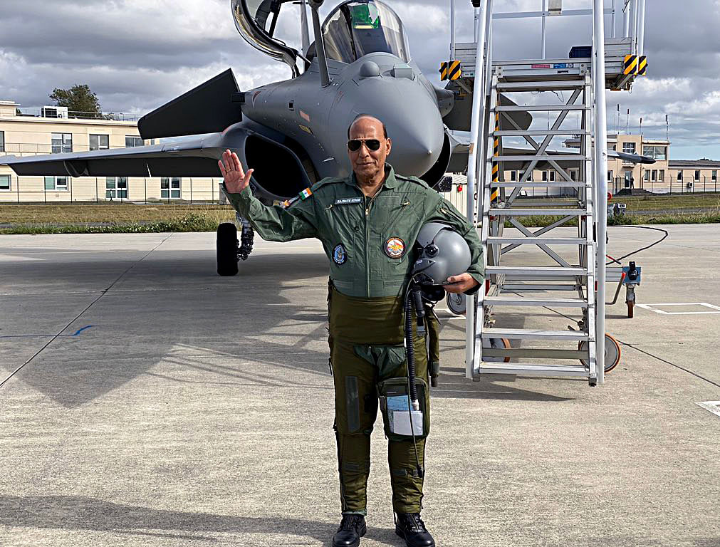 Sky's the limit. Indian defence minister Rajnath Singh after a test flight on the Rafale fighter jet with a test pilot from Dassault Aviation. The big guns in the world of defence are eyeing the prospect of doing business with India in anticipation.