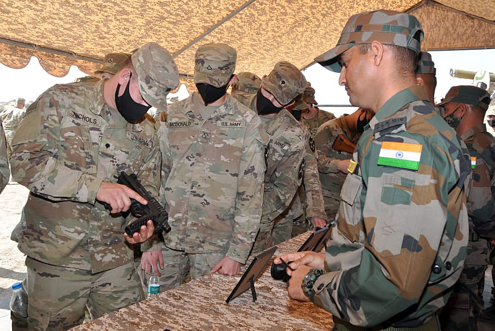 """Indian and US troops during a joint exercise 'Yudh Abhyas' in India. The two sides are expected to discuss """"foundational agreements"""" of US defence cooperation during the Secretary of defence's visit."""