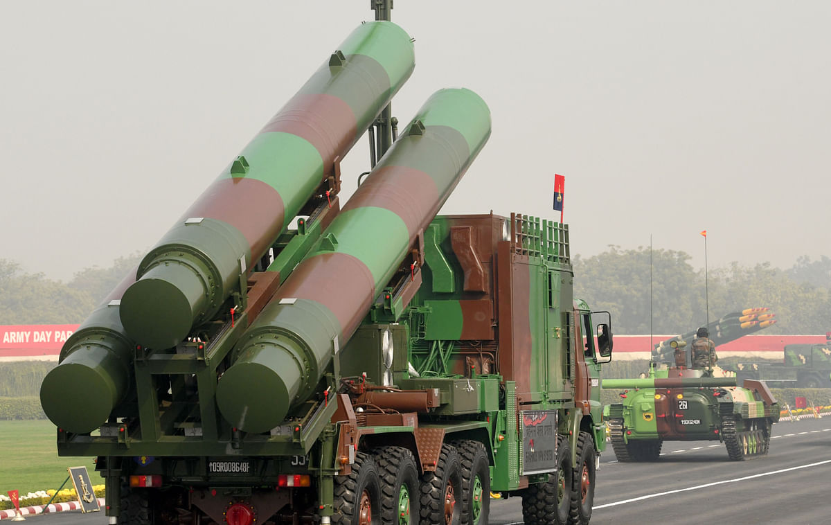 The Indian army's Brahmos missile system on display. New Delhi has started gaining traction on its defence list which puts it at 24th on the global list of exporters.