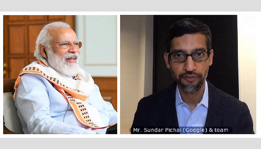 Indian Prime Minister Narendra Modi and Google CEO Sundar Pichai on a video conference. The Australian prime minister Scott Morrison has discussed his country's new law, pertaining to Google and Facebook among others, with India.