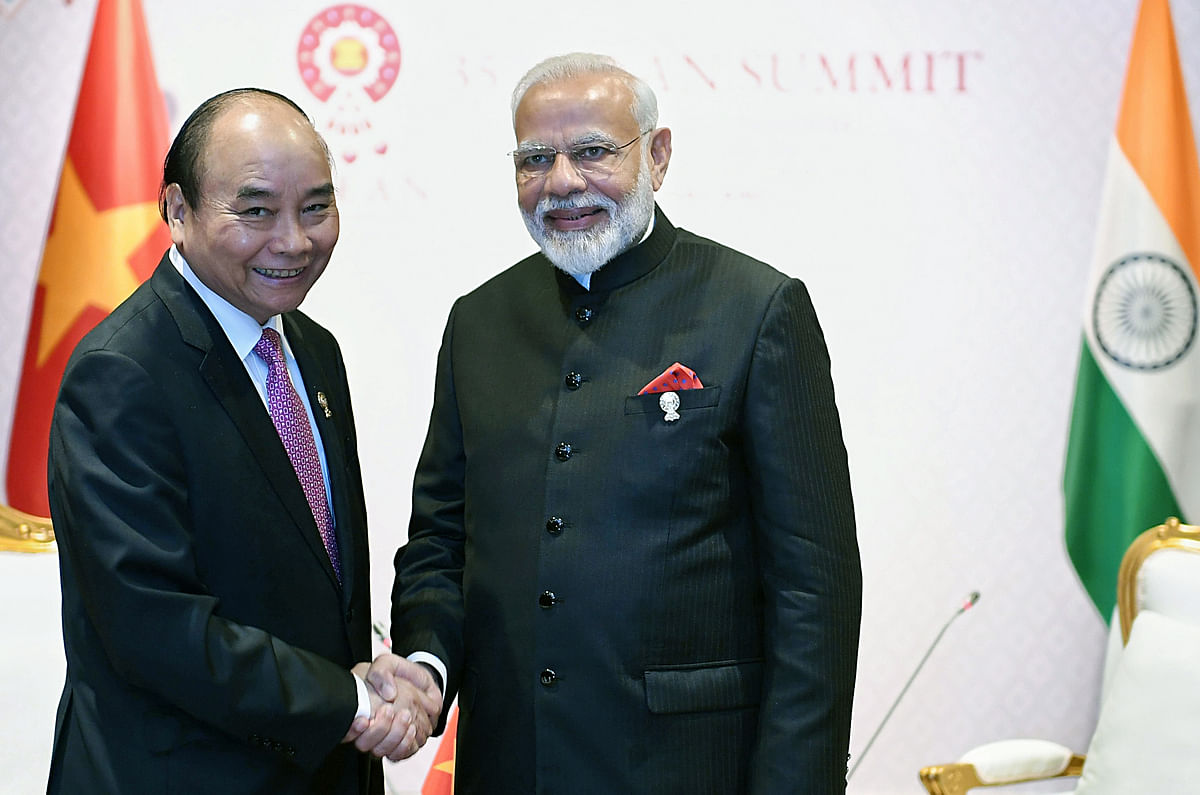 Indian prime minister Narendra Modi with Vietnamese prime minister Nguyen Xuan Phuc, on the sidelines of 16th India-ASEAN Summit, in Bangkok. Vietnam is renowned for being quick to adapt to changes. Its recent free trade agreement with the European Union which saw the latter lift 85 percent of its tariffs on Vietnamese goods, is a case in point.