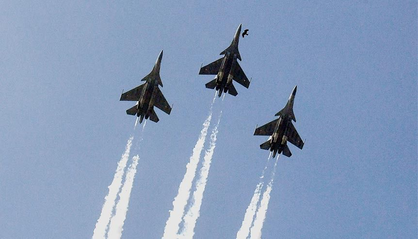 The sky's the limit. Sukhoi Su30MKI fighter aircraft fly over Rajpath during the 72nd Indian Republic Day Parade. The IAF now embarks on a historic annual multinational large force employment warfare exercise hosted by the UAE Air Force. The decision has significant geo-political import for India and the GCC.