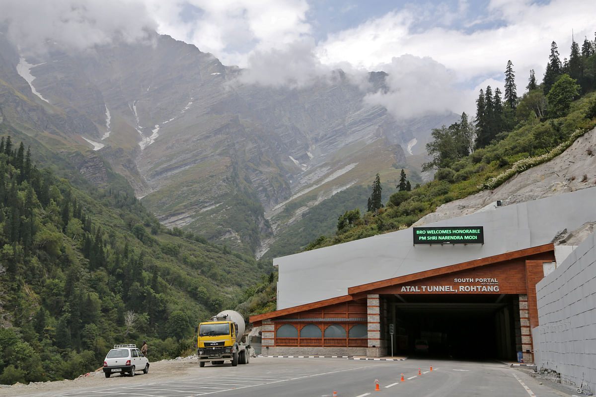 A view of the Atal Tunnel constructed late last year on the Leh-Manali highway in Dhundi village in Kullu district in the northern state of Himachal Pradesh. Under the National Infrastructure Pipeline, the Centre to meet 39 per cent of the proposed expenditure, the states to put up a matching amount and the private sector the rest.