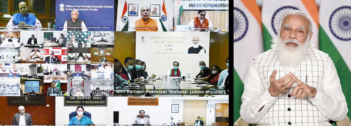 Paving the way to a better future with more options. Indian prime minister Narendra Modi addresses a webinar on the effective implementation of Budget provisions regarding the education sector.