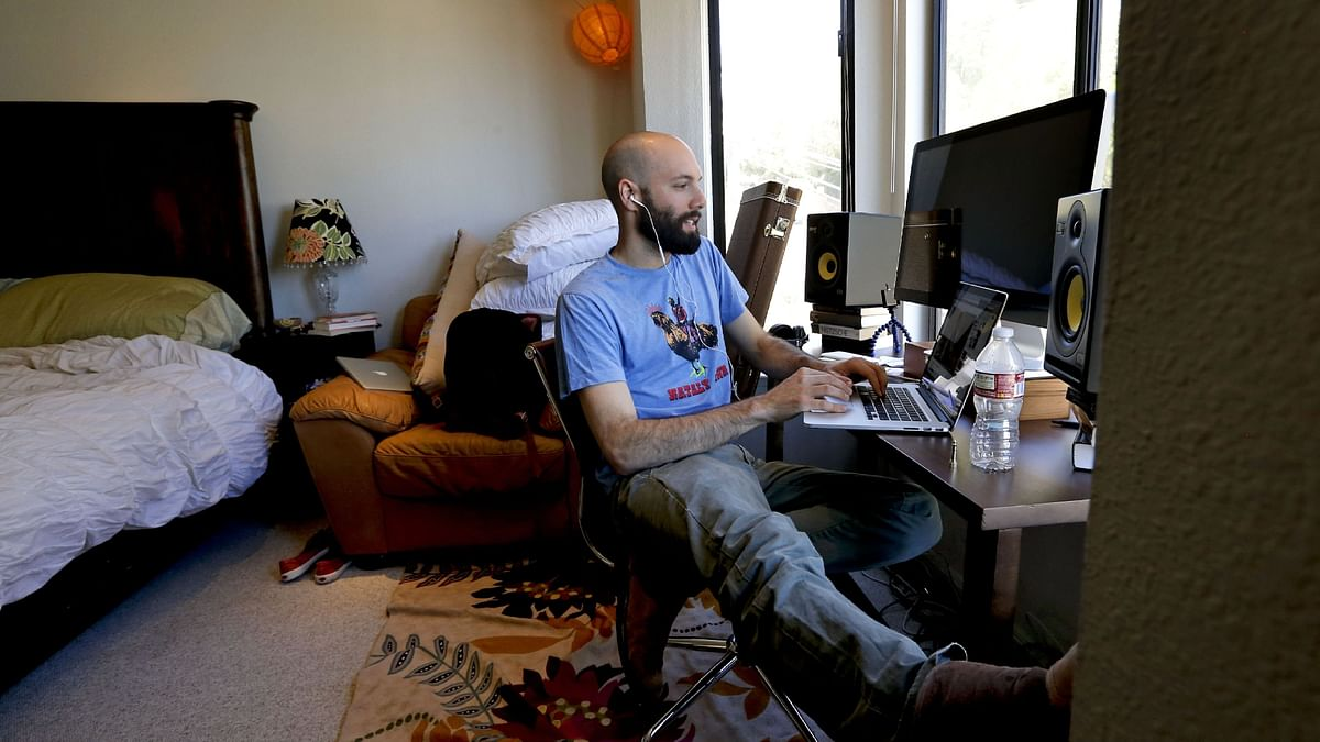 Jack Conte co-founder Patreon, works in his bedroom at the home offices of Patreon in San Francisco. Patreon raised $90m at a valuation of $1.2bn in 2020, despite the pandemic
