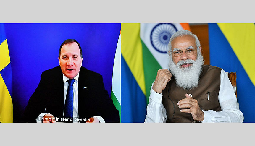 Indian prime minister and his Swedish counterpart Stefan Lofven. The latter's praise were a ringing endorsement of India's strength as a free and democratic nation.