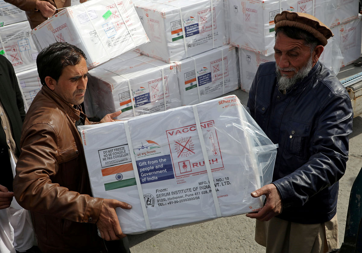 Workers from Afghan health ministry unload boxes containing vials of COVISHIELD, a coronavirus disease (COVID-19) vaccine donated by the Indian government in Kabul, Afghanistan. So far India has supplied 60 countries with 60 million doses of vaccines in six weeks.