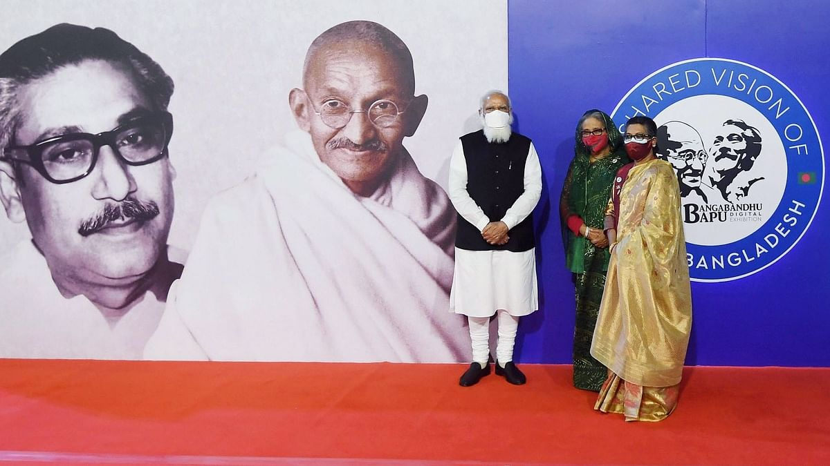Narendra Modi and Sheikh Hasina jointly inaugurate a digital exhibition titled Bapu and Bangabandhu. The former's visit to Dhaka comes on the back of a foundation that has been built over the last two years by a series of trips made by high level delegations.