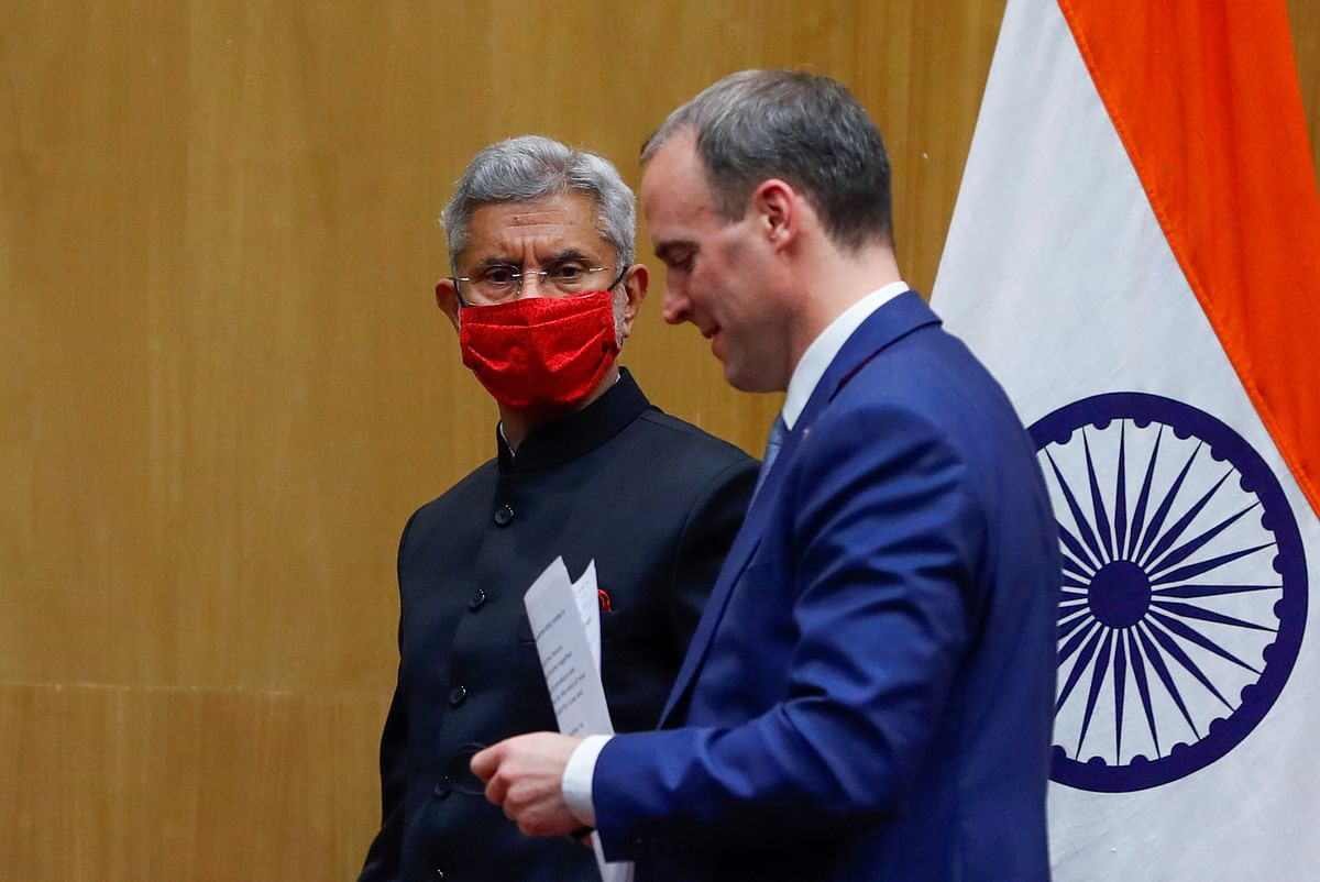 Britain's Foreign Secretary Dominic Raab and India's Foreign Minister Dr. S Jaishankar. The delivery of the assistance package coincides with the week set aside for Boris Johnson's visit to India during which his talks with Prime Minister Narendra Modi were to pave the way to an Enhanced Trade Partnership.