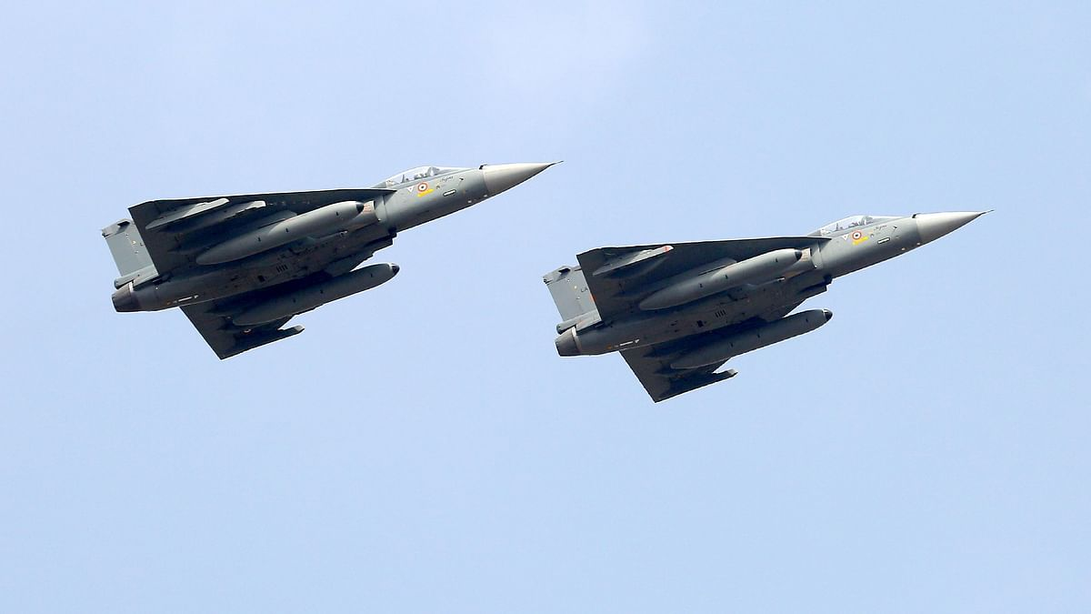 IAF Tejas LCA fly past the Yelahanka air base in Bengaluru. British defence companies could seek to take advantage of recent defence industrial reforms, including joint ventures through liberalised foreign defence investment regulations.