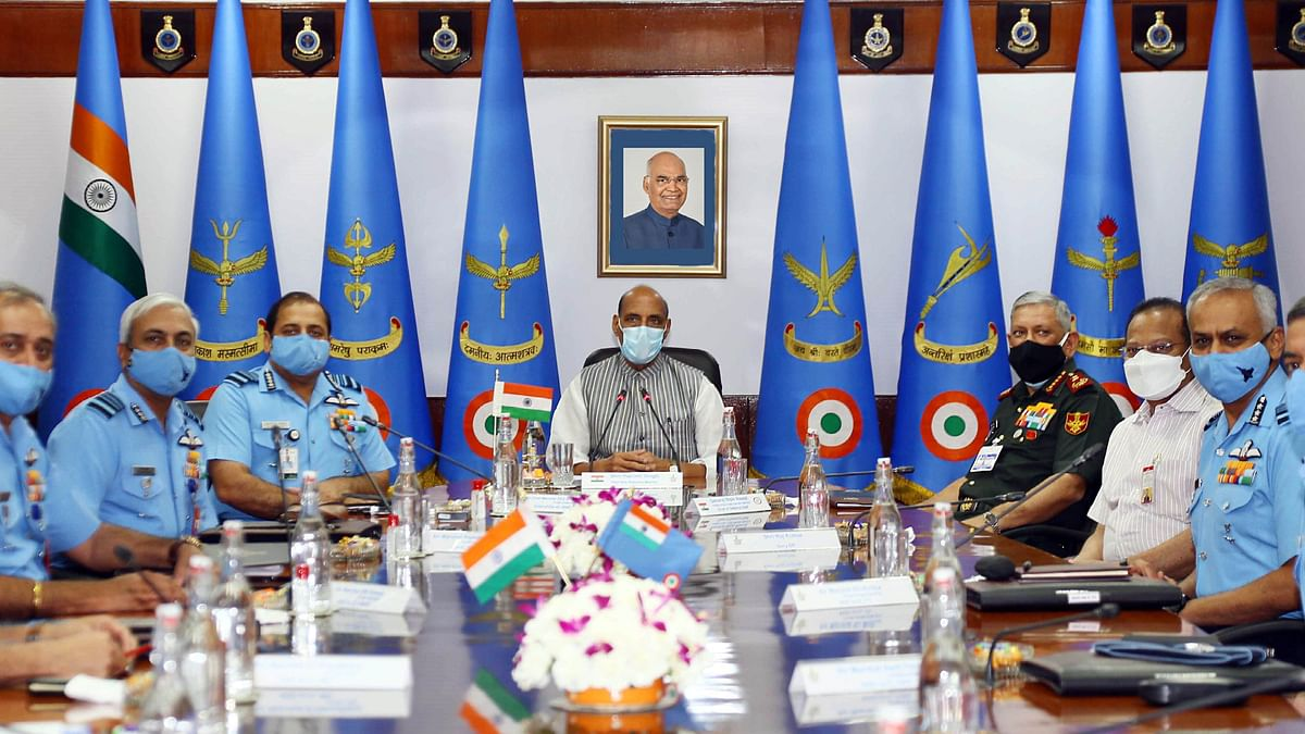 Indian defence minister Rajnath Singh with IAF commanders. The UK urgently needs to implement, with high visibility, key parts of the defence and security components of its 2030 road map.