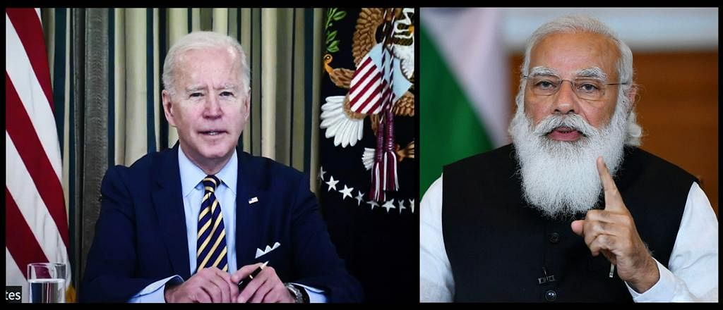 Indian PM Narendra Modi in a discussion with US President Joe Biden during the first Quad leader's virtual summit. The group of four has included participation from the UK and France on matters related to the security and stability of the Indo-Pacific.