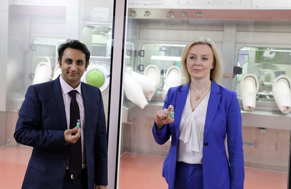 UK Secretary of State for International Trade Liz Truss with Adar Poonawalla, CEO, Serum Institute of India. The UK will be pursuing opportunities to invest in India's pharmaceutical sector.
