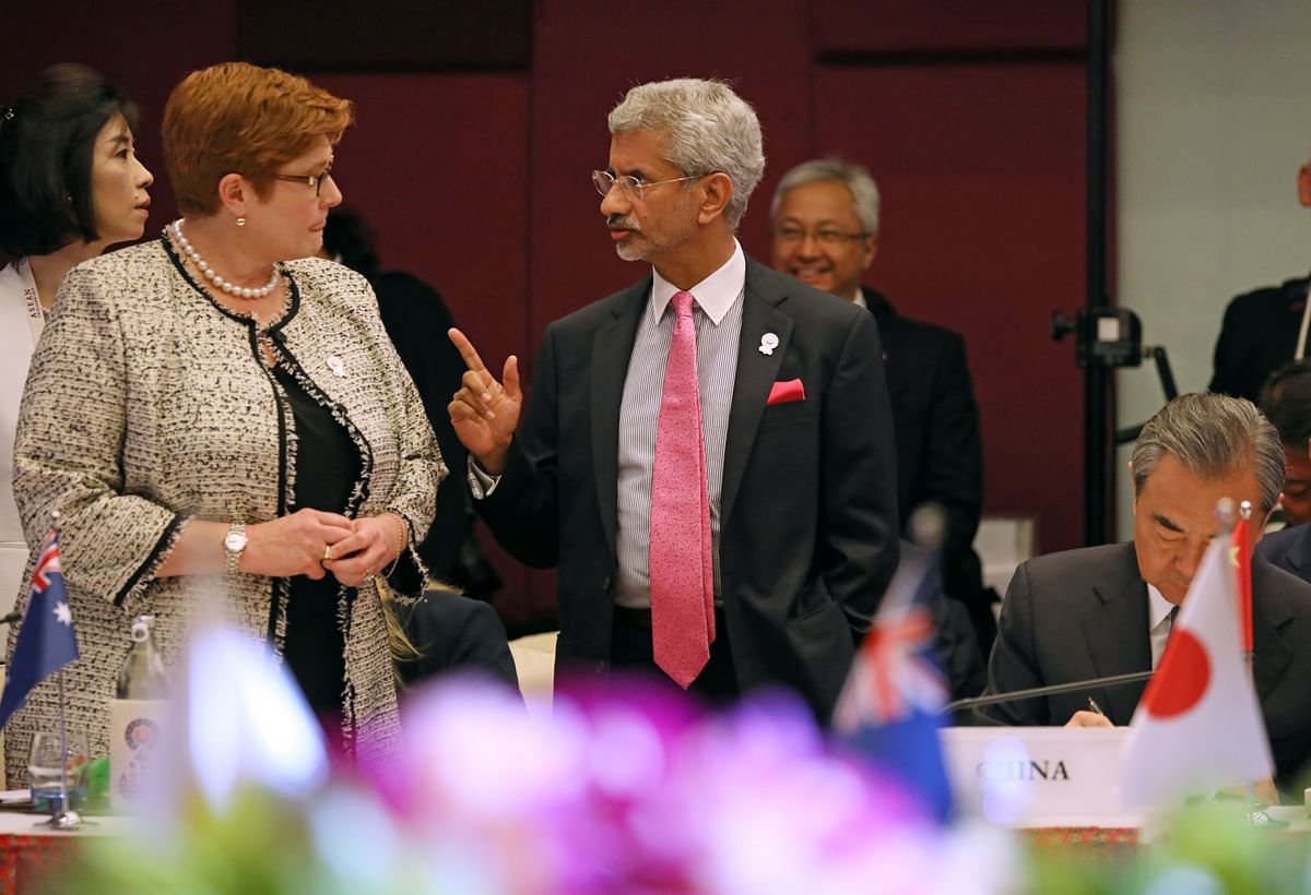 Australia's foreign minister Marise Payne and India's foreign minister Dr. S Jaishankar at the ASEAN Foreign Ministers' East Asia Summit Meeting in Bangkok in 2019. Supply chains have been left vulnerable due to a range of factors, acknowledging that the COVID-19 pandemic had revealed major supply chain criticalities globally and in the region.