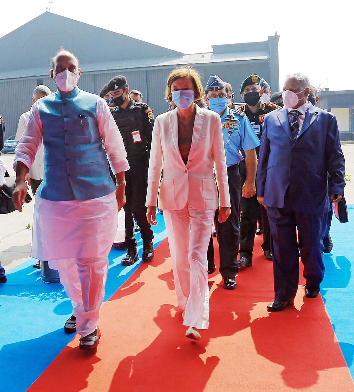 India's Defence Minister Rajnath Singh along with French Minister of Armed Forces Florence Parly. The discussions in diplomatic circles of a Quad-plus arrangement are beginning to gather some force.