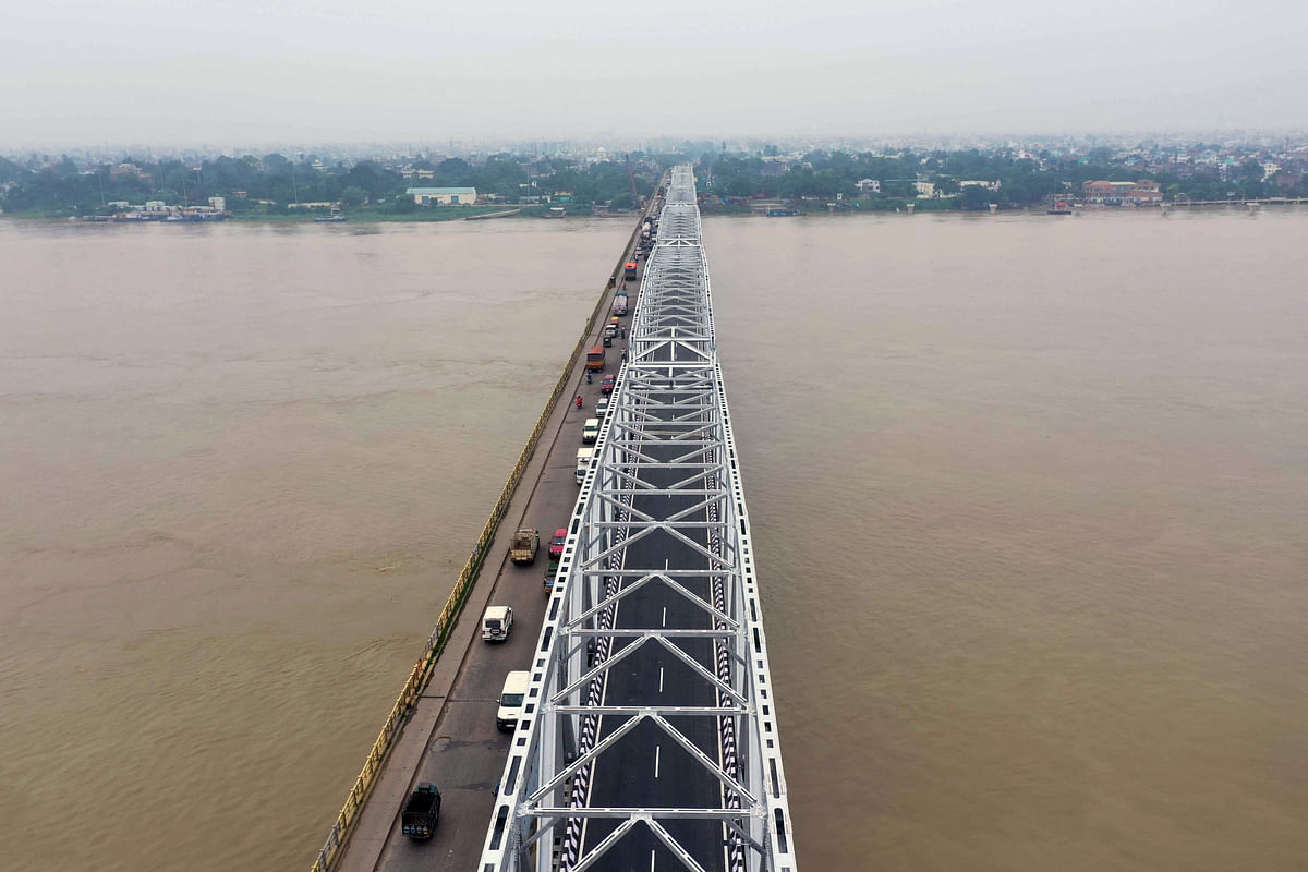 Making the right connection. An aerial view of reconstructed steel structure of the Gandhi setu bridge over the river Ganga connecting Patna to the North Bihar. India faced an 18 per cent decline in steel demand in 2020, but it is set to rebound by 15 per cent this year.
