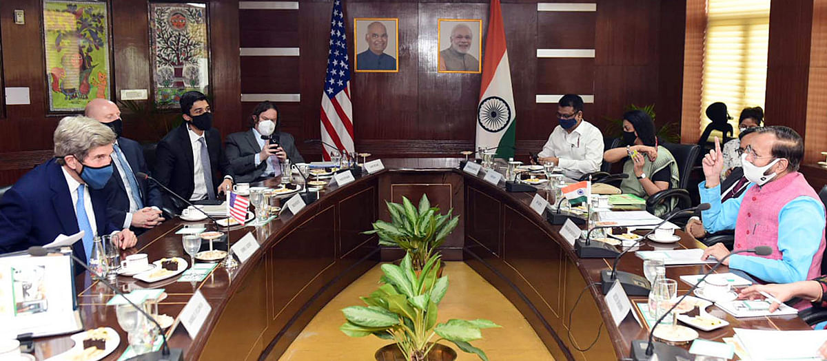 Getting down to work. US presidential envoy John Kerry in deliberations with Prakash Javadekar, Union Minister for Environment, Forest & Climate Change.