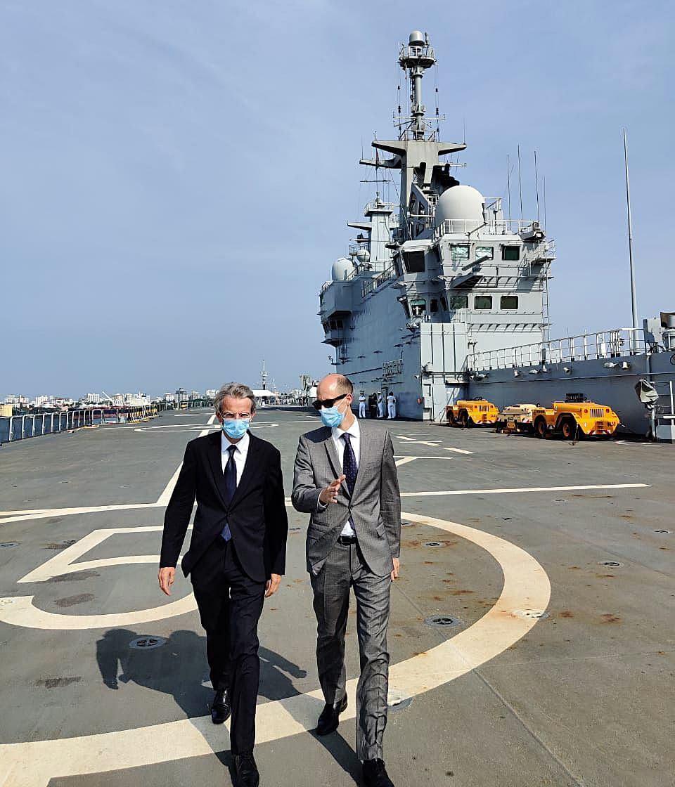 Emmanuel Lenain, Ambassador of France to India at French Navy ship — assault helicopter carrier Tonnerre, in Kochi. India and France are collaborating on multiple platforms including defence.