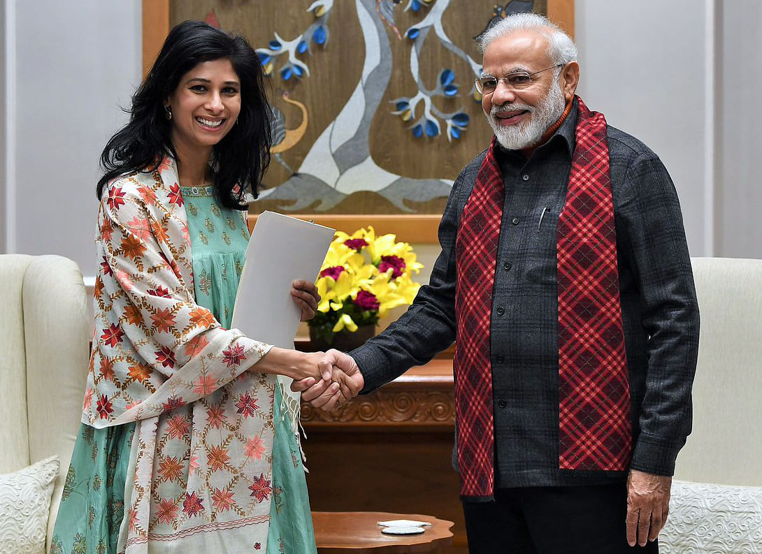 International Monetary Fund (IMF) chief economist, Gita Gopinath with Indian Prime Minister Narendra Modi. The IMF forecasts the Indian economy will grow by 12.5 per cent in 2021 and 6.9 per cent in 2022.