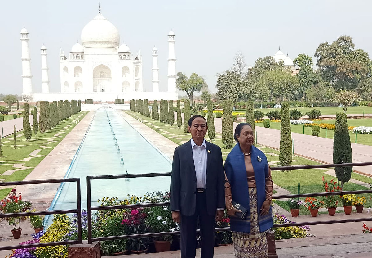 Former president of Myanmar U Win Myint and his wife Daw Cho Cho during an official visit to India. The former is facing charges in court  levelled by the junta against the backdrop of a military coup in Myanmar.