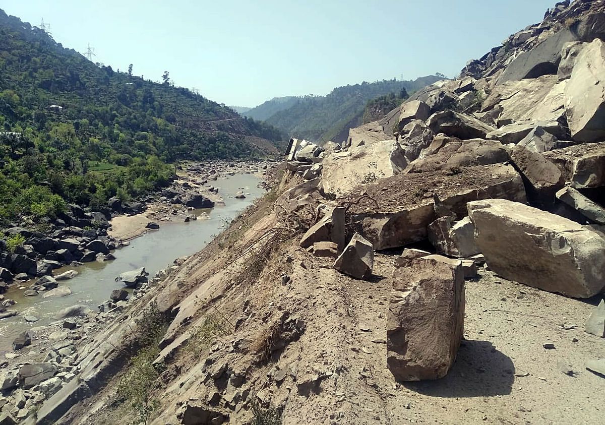 The destructive effects of climate change. Boulders block the road after a landslide at Jammu Srinagar highway at Samroli in Udhampur. The government has stated that it would meet the challenge and made this commitment public.