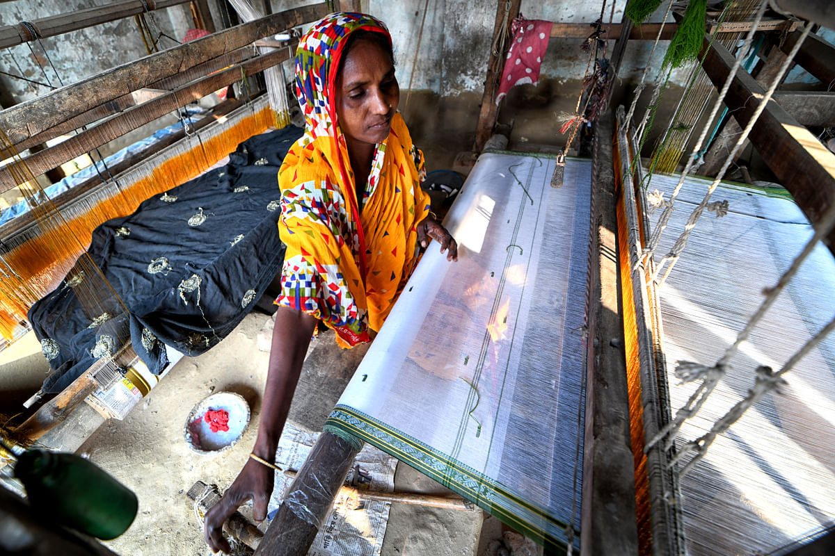 A female worker seen working on a handloom machine to produce fibres. With boundaries blurring in Tier II and Tier III cities, thanks to remote working during the pandemic, the female workforce grew exponentially. Coupled to this was also the fact that there was pay parity.