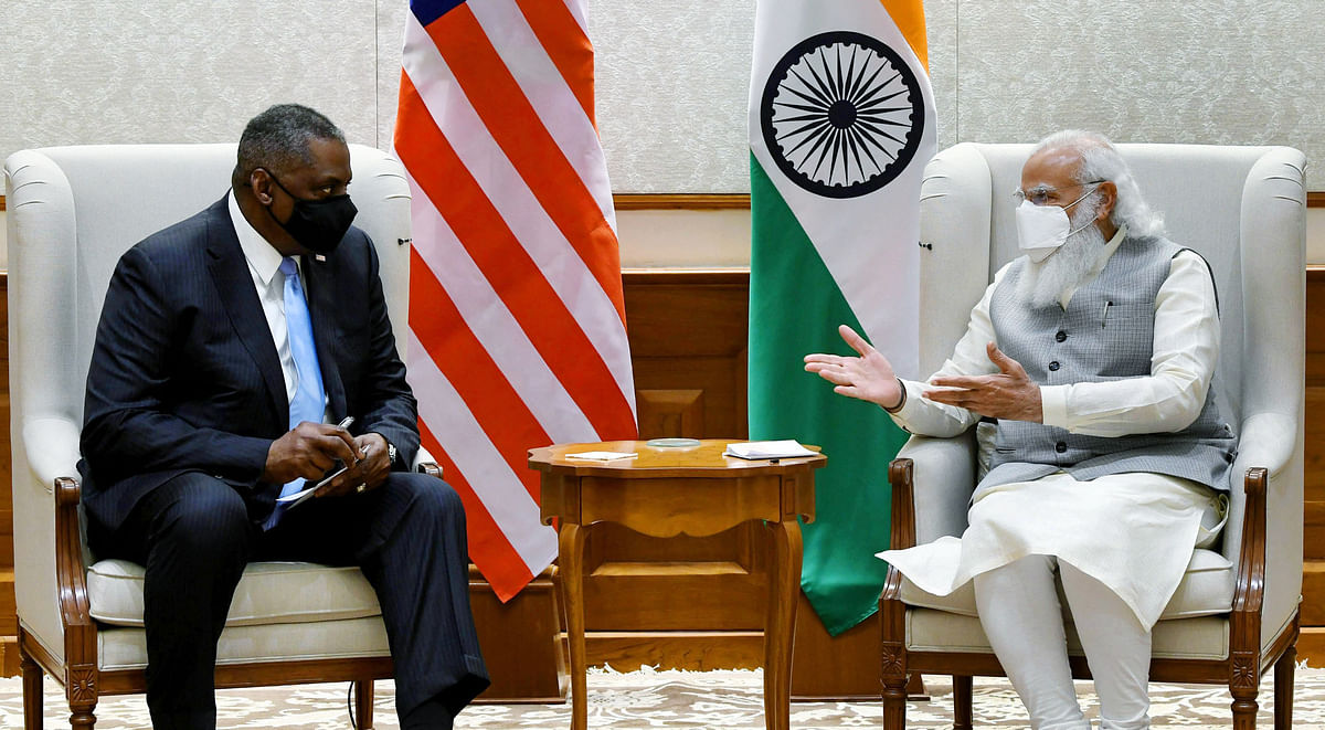 Indian prime minister Narendra Modi with US secretary of defense Lloyd Austin. With its aid to India the Quad nations have established a new understanding that the grouping is not just about containing China.