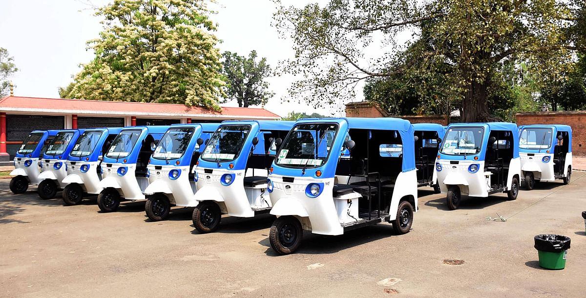 India walks the talk on renewable energy. E-autos and E-rickshaws distributed to 65 beneficiaries by the Directorate of Environment and Climate Change at Kangla, in Imphal.