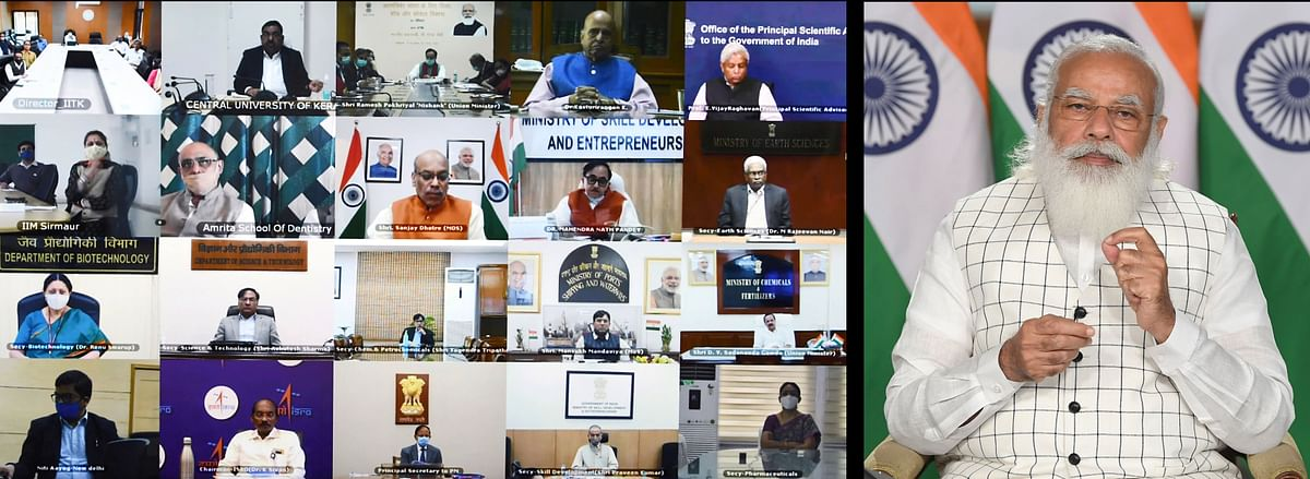 Indian prime minister Narendra Modi addressing a webinar on the effective implementation of Budget provisions regarding the Education sector.