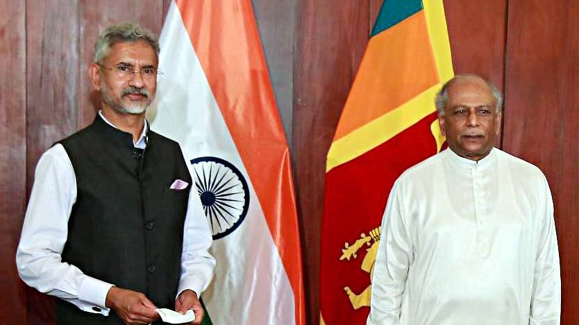 Indian external afairs Minister Dr. S Jaishankar with his Sri Lankan counterpart Dinesh Gunawardena. India has teamed up with Japan to provide infrastuructural support to Colombo.