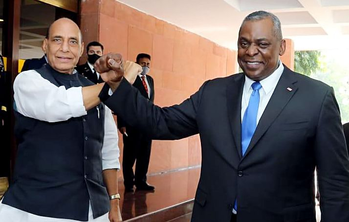 Indian defence minister Rajnath Singh with US defence secretary Lloyd Austin in New Delhi. New Delhi and Washington will have to maintain a close cooperation to ensure that the latter's withdrawal from Afghanistan doesn't lead to an eruption in hostilities between the Taliban and Afghan authorities.