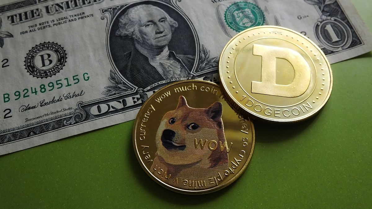 Dogecoins on display with dollar currency. It represents the top 10 cryptocurrencies in terms of market cap.