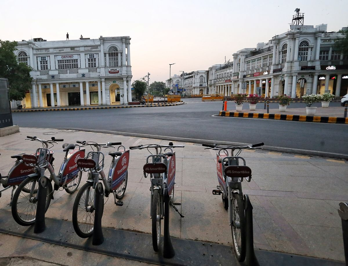 A deserted view of Connaught Place as the Delhi government extended a one-week lockdown till 24 May. While infections rates are being curtailed the lockdown is taking a toll on the economy.