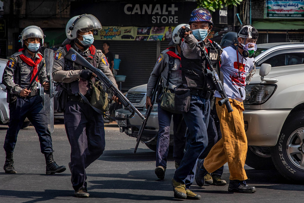 Riot police arrest anti-coup protesters in Yangon. India's strategic would get affected if the uncertainty in Myanmar continues unabated.
