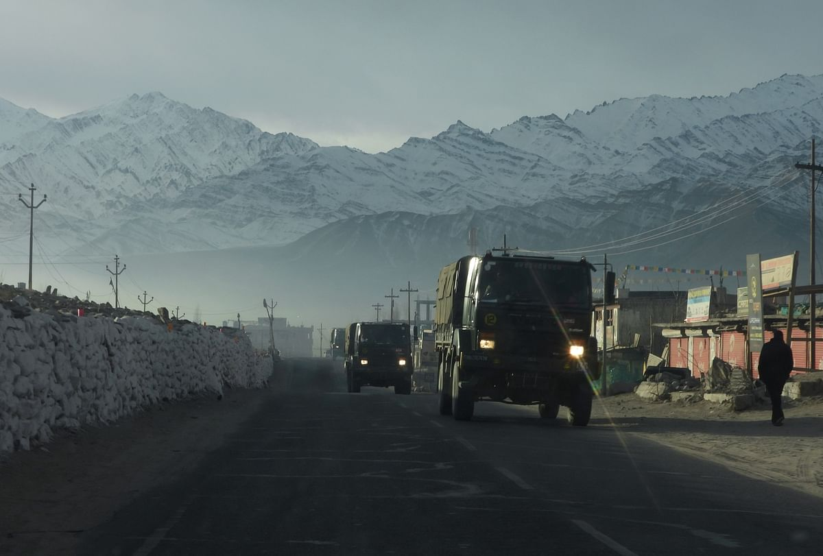 An army convoy moving towards China border from National Highway, in Leh. China's actions have disturbed peace along the borders after a period of 45 years.