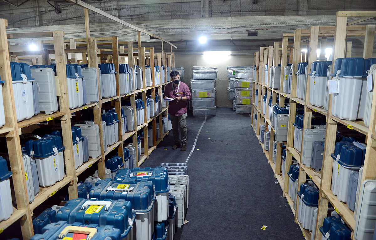 EVM machines kept aside for the counting of votes being scrutinsed by a polling official. Contrary to the spin doctors these devices were not manipulated in a bid to tamper with votes.