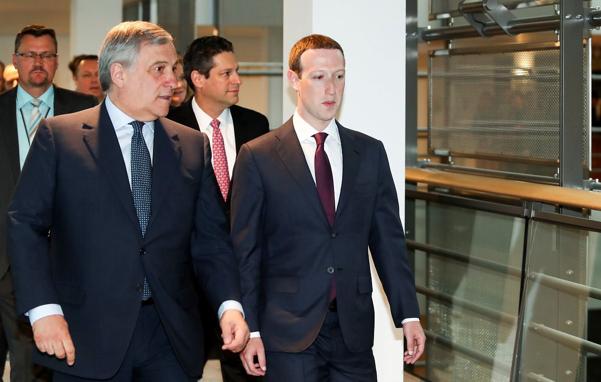 Facebook co-founder, Chairman and CEO Mark Zuckerberg (R) with President of the European Parliament, Antonio Tajani (L) before testifying to the European Parliament. The EU supports the development, implementation and use of encryption on social media platforms.