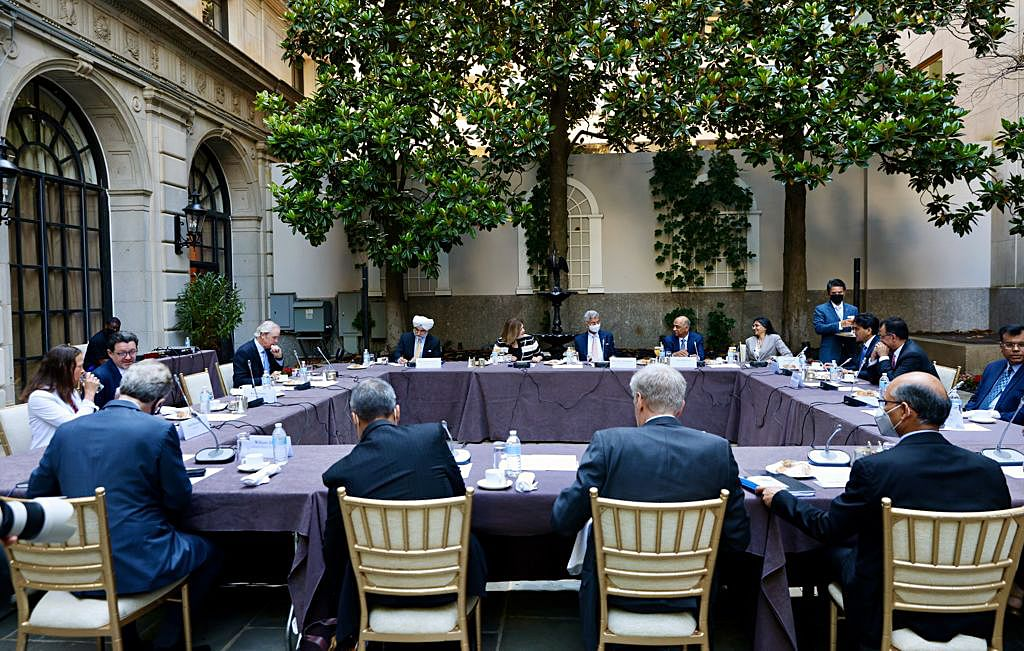 External affairs minister Dr. S Jaishankar in a meeting with members of the US-India Business Council and US Global Task Force on the COVID-19 pandemic situation, in Washington DC.