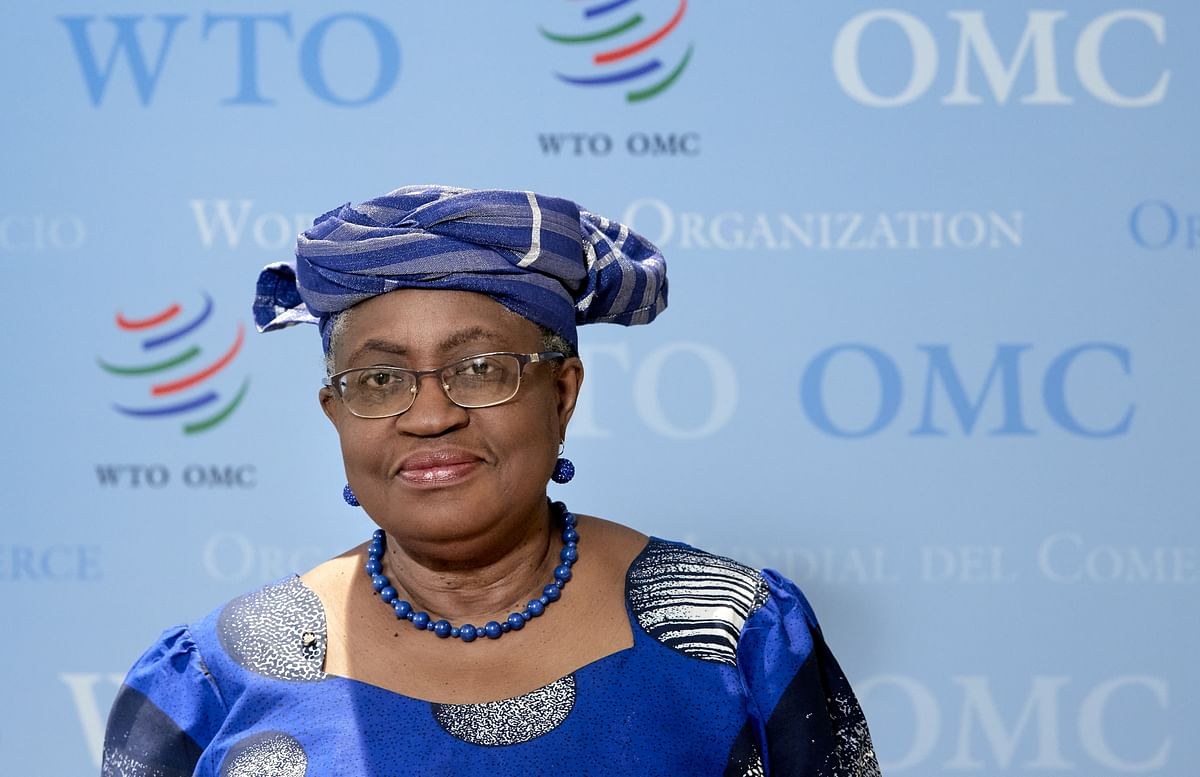 Director-General of the World Trade Organisation Ngozi Okonjo-Iweala speaks during a press conference. Iweala expects the US support for COVID patent waiver will push WTO talks .