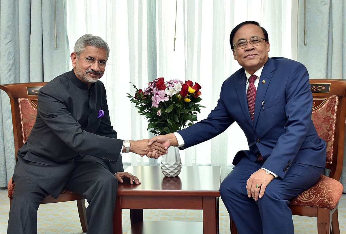 India's external affairs minister Dr. S Jaishankar with U Kyaw Tin, Myanmar's erstwhile Minister of International Cooperation. India shares deep social, cultural links with the people in Myanmar and along its north-east border.