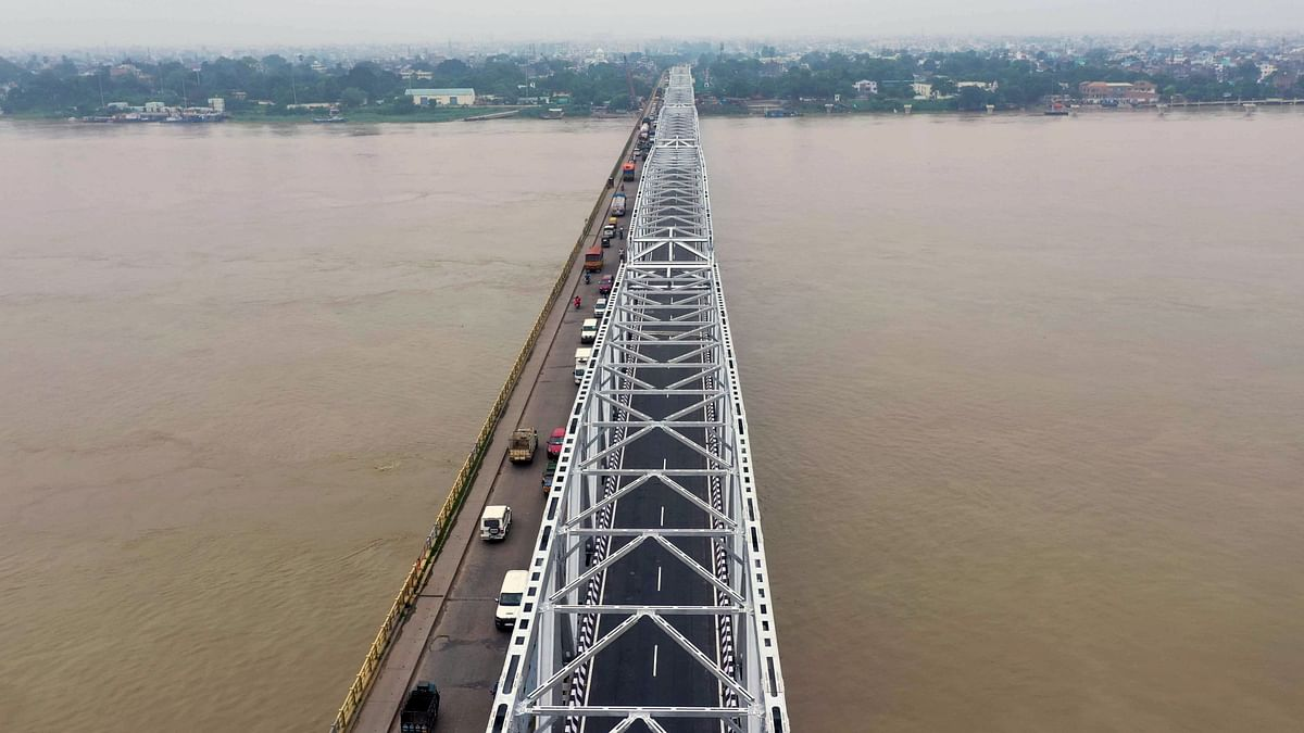 A view of reconstructed steel structure of the Gandhi Setu bridge connecting Patna to North Bihar. In the last 10 years, India's crude steel production has grown 6 per cent on an average, the fastest among big steel producing nations and nearly double the world average of 3 per cent.