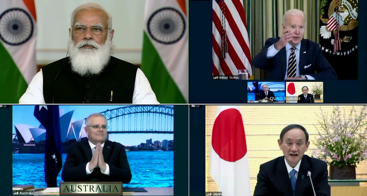 Indian Prime Minister Narendra Modi in a virtual Quad meeting with US President Joe Biden, Australian PM Scott Morrison and Japanese PM Suga. The SCRI launched between India, Australia and Japan will reinforce supply chains in the Indo-Pacific.