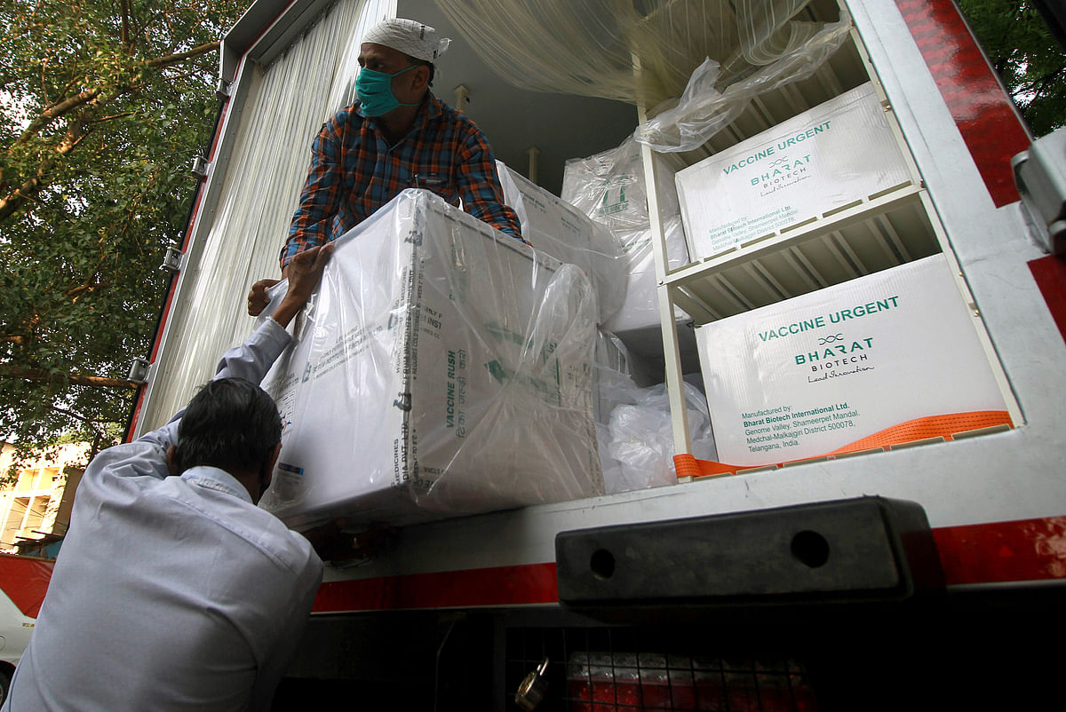 Vaccines being unloaded at the state vaccination centre in Lucknow. India has been lobbying the WTO to consider a waiver of intellectual property rights (IPRs) for COVID-19 vaccines.