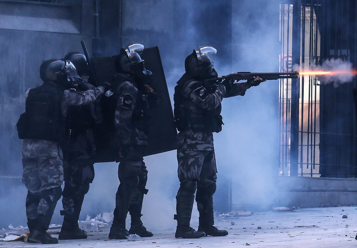 Brazilian military police in action during a riot in Rio De Janeiro. MKU beat off global competition to bag its first tender in Brazil back in 2006. They became one of the biggest Indian defence exporters this year.