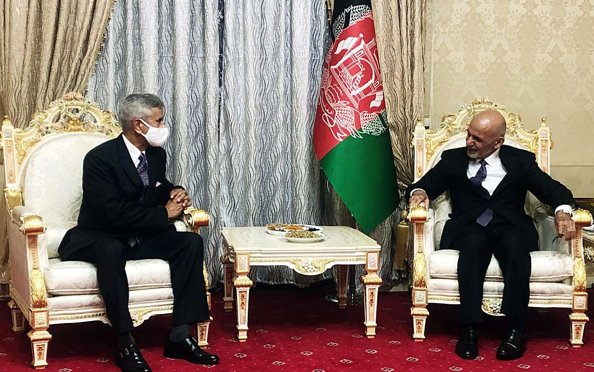 """India's External Affairs Minister S. Jaishankar with Afghanistan President Ashraf Ghani. The former had called for a """"Afghan-led, Afghan-owned and Afghan-controlled"""" peace process with the Taliban."""