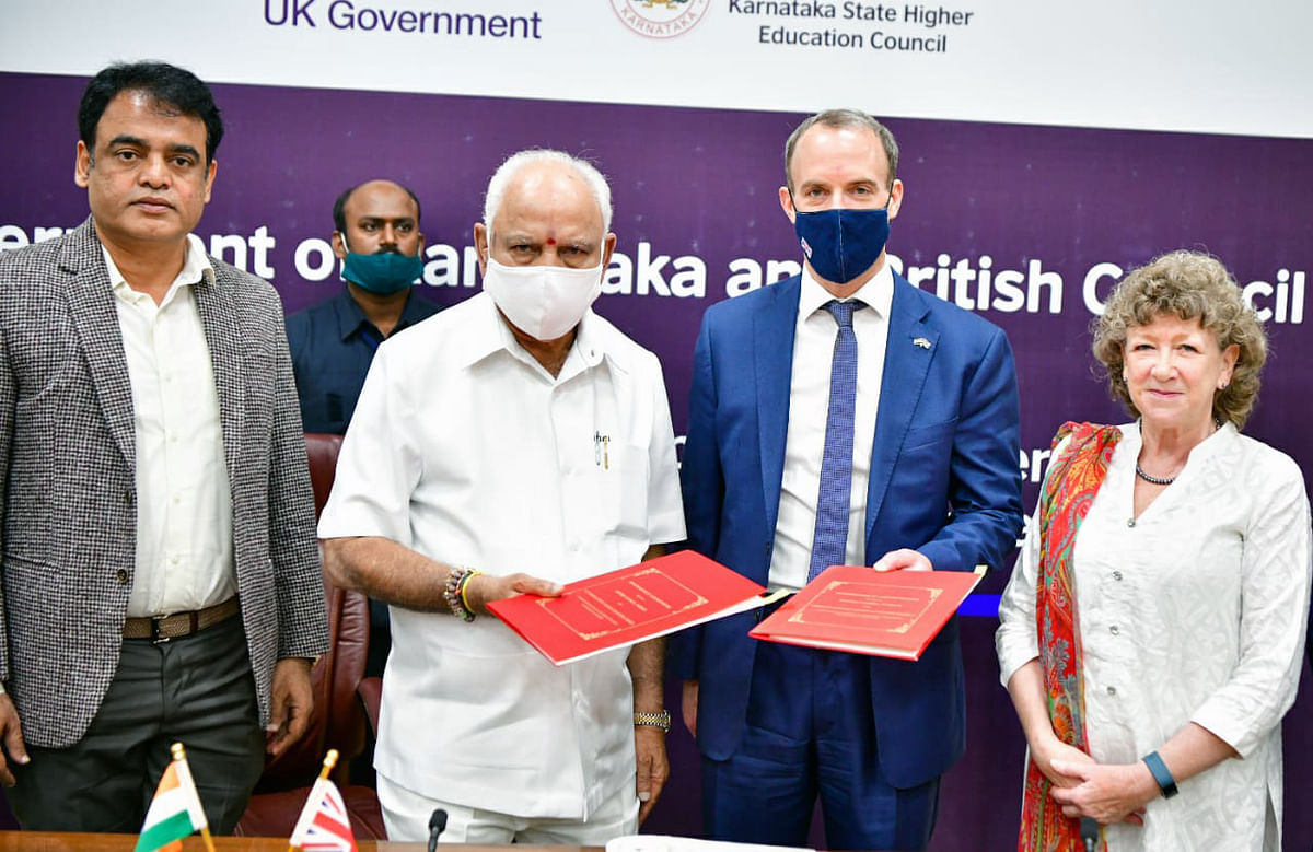 UK foreign secretary Dominic Raab, on an earlier visit to India, with Karnataka chief minister BS Yeddurappa.  Economic cooperation between the two countries could lead to the generation of thousands of jobs.